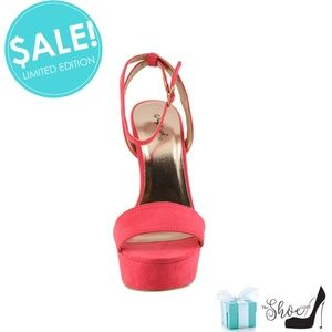 Qupid Shoes - Lourde Rich Coral Chunky Block Heel Platforms